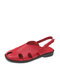 Women Casual Soft Solid Hollow Hook Loop Fisherman Sandals - Red