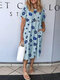 Floral Print Short Sleeve Loose Casual Dress For Women - Light Blue