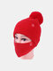 Women 2PCS Wool Winter Keep Warm Daily Casual Neck Face Protection Fur Ball Knitted Hat Beanie Mask - Red