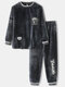 Men O Neck Flannel Pajams Sets Heated Lougewear Co-ords with Chest Pockets - Black