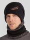 Men 2PCS Embroidered Thick Winter Outdoor Neck Protection Headgear Scarf Knitted Hat Beanie - Black