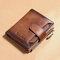 Men Genuine Leather RFID Anti-theft SIM Card Slot Multi-card Slots Large Capacity Foldable Card Holder Wallet - Brown