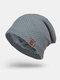 メンズウールPlus厚手の冬は暖かく防風ニット帽を保つ - グレー