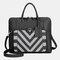 Mala comercial feminina Design listrada multifunções Crossbody Bolsa - Preto