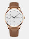 11 Colors Leather Men Business Watch Decorated Pointer Calendar Quartz Watch - Brown Band Rose Gold Case White