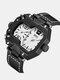 Vintage Large Dial Men Watch Dual Time Zone Waterproof Quartz Watch - White