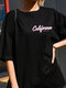 Young Chic Print Short Sleeve O-neck Plus Size Loose T-shirt - Black