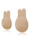 Breathable Nipplecovers Adhesive Strapless Push Up Rabbit Shaped Nu Bras - Nude