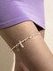 Trendy Ethnic Geometric Irregular Crushed Stone Rice Beads Elastic Waist Chain Arm Chain Thigh Chain - Thigh Chain White