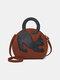 Frauen Katze Muster Große erweiterbare Handtasche Umhängetasche - braun