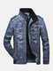 Mens Faded Effect Zip Front Casual Washed PU Jackets With Pocket - Blue