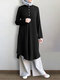 Solid Color Button Long Sleeve Pleated Casual Blouse Dress For Women - Black