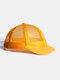 ユニセックスメッシュ通気性調節可能なショートカーブ野球帽 - 黄