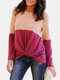 Contrast Patchwork Knotted O-neck Long Sleeve T-shirt - Pink