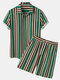 Mens Vertical Stripes Print Lapel Short Sleeve Casual Holiday Two-Piece Outfits - Green