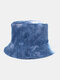 Women & Men Double-sided Tie-dye Corduroy And Cotton Warm Soft Outdoor Casual All-match Bucket Hat - #03