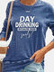 Casual Letters Print Long Sleeve Blosue for Women - Blue