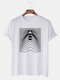 Mens Line & Boat Print O-Neck Casual Short Sleeve T-Shirts - White