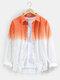 Mens Two Tone Ombre Basic Lapel Long Sleeve Casual Shirt - Orange