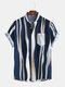 メンズ無地ストリオラ胸ポケットカジュアル半袖シャツ - 青い