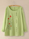 Flower Embroidery Button O-neck Long Sleeve Blouse For Women - Light Green