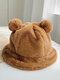 Women Faux Rabbit Fur Warm Soft Cute Casual All-match Animal Ear Pattern Bucket Hat - #05