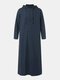 Men Cotton Middle Robe Solid Long Sleeve Hooded T-Shirt - Navy