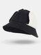 Women Corduroy Plus Hat Circumference Ear Protection Tie Keep Warm Bucket Hat - Black