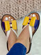 Plus Size Color Splicing Bow Round Toe Flat Slippers For Women - Yellow
