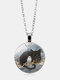 Vintage Glass Printed Women Necklace Cat Owl Pendant Necklace Jewelry Gift - Silver