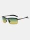Men Metal Square Half Frame Smart Color-changing Polarized Anti-UV Sunglasses - #06