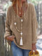 Solid Color V-neck Long Sleeve Casual Sweater For Women - Brown