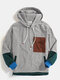Mens Vintage Patchwork Corduroy Drawstring Hoodies With Flap Pocket - Gray