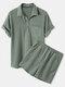 Camisas y pantalones cortos de manga corta con cordón y cuello medio abierto de color liso para hombre - Verde