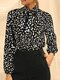 Dot Print Stand Collar Knotted Long Sleeve Women Blouse - Black