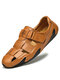 Menico Men Woven Style Hook Loop Hand Stitching Leather Sandals - Brown