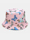 Women & Men Double-Sided Colorful Butterflies Pattern Outdoor Casual Sunshade Bucket Hat - Pink