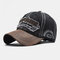 Embroidered Letters Stitching Made Old Washed Denim Baseball Cap - Black