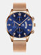 14 Colors  Alloy Mesh Band Men Business WatchDecorated Pointer Calendar Quartz Watch - Rose Gold Band Blue Dial Rose Go