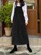 Vintage Corduroy Solid Color Pockets Back Slit Hem Strap Dress - Black