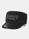 Men Cotton Letter Embroidery Outdoor Sunshade Casual Military Cap Flat Cap - Black