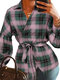 Plaid Knotted Lapel Collar Long Sleeve Shirt For Women - Green