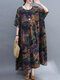 Vintage Flower Print Loose O-neck Half Sleeve Dress for Women - Khaki