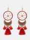 Christmas Red Flower Women Earrings Hollow Butterfly Tassel Pendant Earrings Jewelry Gift - #05