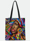 Casual Stylish Design Abstract Black Human Pattern Magnetic Button Tote Shoulder Bag With Phone Bag - Multicolor