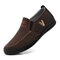 Men Metal Decor Letter Embroidered Cloth Comfy Breathable Wearable Casual Walking Shoes - Coffee