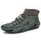 Men Handmade Leather Comfy Soft Sock Ankle Boots - Green