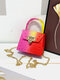 Stylish Pyramid Embellishment Flap Ombre Color Wearable Exquisite Hardware PVC Mini Jelly Coin Bag Crossbody Bag - #02