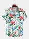 Mens Casual Cotton Floral Print Turn Down Collar Short Sleeve Shirts - White