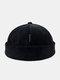 Unisex Corduroy Letter Pattern Label Fashion Warmth Brimless Beanie Landlord Cap Skull Cap - Black